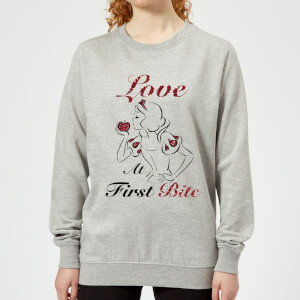 Sweat Femme Love At First Bite - Blanche - Neige (Princesse Disney) - Gris