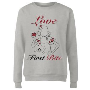 Disney Princess Snow White Love At First Bite Women's Sweatshirt - Grey