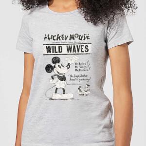 T-Shirt Femme Mickey Mouse Affiche Rétro (Disney) - Gris