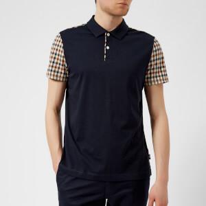 Aquascutum Men's Rutland Vicuna Detail Short Sleeve Polo Shirt - Navy