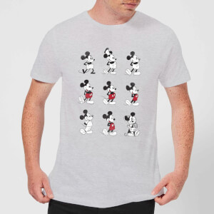 Camiseta Disney Mickey Mouse Evolución 9 Poses - Hombre - Gris