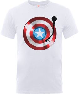 T-Shirt Marvel Avengers Assemble Captain America Record Shield - Bianco