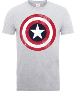 T-Shirt Marvel Avengers Assemble Captain America Distressed Shield - Grigio