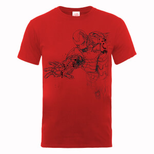 T-Shirt Marvel Avengers Assemble Iron Man Mono Sketch - Rosso