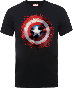 Marvel Avengers Assemble Captain America Art Shield Badge T-Shirt - Schwarz