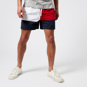 Tommy Hilfiger Men's Medium Drawstring Flag Swim Shorts - Navy Blazer/Tango Red