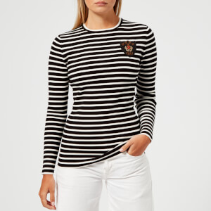 Polo Ralph Lauren Women's Crest Stripe Sweatshirt - Black/Cream