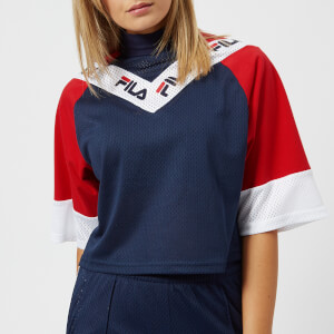 FILA Women's Addi Cut & Sew Crop T-Shirt - Navy/Red/White