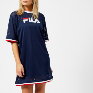 FILA Women's Drew Mesh Dress with Double Colour Trims - Navy/Red/White