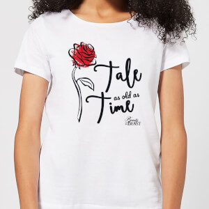 Disney Beauty And The Beast Tale As Old As Time Rose Women's T-Shirt - White