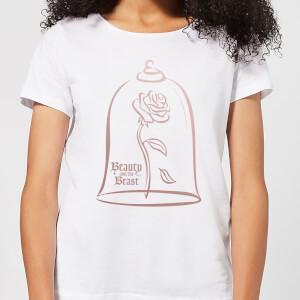 T-Shirt Femme Rose Doré - La Belle et la Bête (Disney) - Blanc