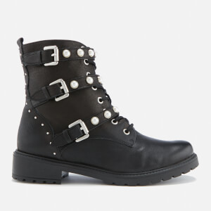 Dune Women's Risky Leather Biker Boots - Black