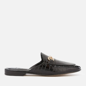 Dune Women's Gene Leather Slide Loafers - Black Croc