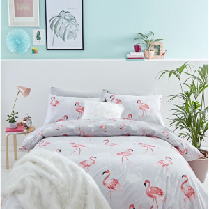 Catherine Lansfield Flamingo Duvet Set - Grey