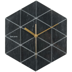 Karlsson Marble Hexagon Wall Clock - Black