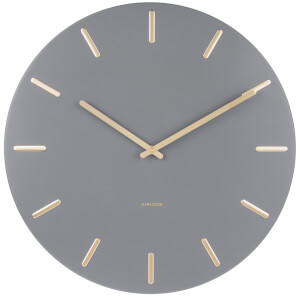 Karlsson Charm Wall Clock - Grey with Gold Battons