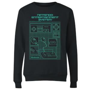 NES Controller Blueprint Black Women's Sweatshirt - Black