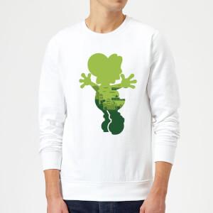 Sweat Homme Super Mario Silhouette Yoshi - Nintendo - Blanc