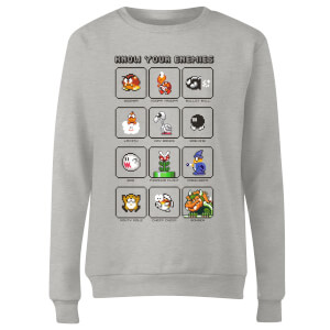 Nintendo Super Mario Know Your Enemies Women's Sweatshirt - Grey