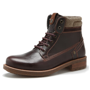 Wrangler Men's Hill Tweed Leather Lace Up Boots - Dark Brown