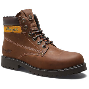 Wrangler Men's Hunter Leather Lace Up Boots - Dark Brown