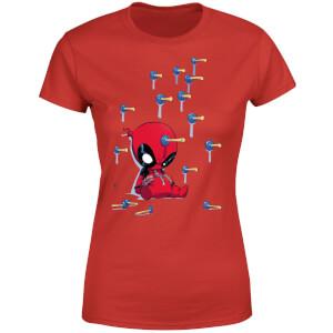 Marvel Deadpool Cartoon Knockout Frauen T-Shirt - Rot