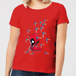 Marvel Deadpool Cartoon Knockout Women's T-Shirt - Red