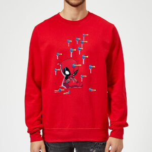 Marvel Deadpool Cartoon Knockout Sweatshirt - Red