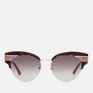 Gucci Women's Cat Eye Sunglasses - Havana/Gold/Brown