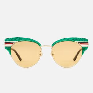 Gucci Women's Glitter Cat Eye Sunglasses - Green/Gold/Brown