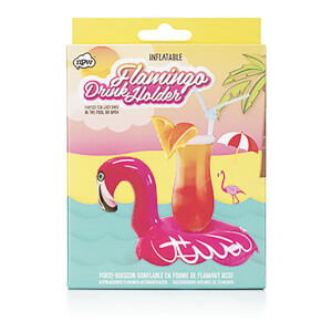 Drinking Buddies Inflatable Flamingo Drinks Holder - Pink