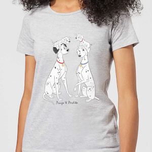 T-Shirt Femme Pongo et Perdita 101 Dalmatiens Disney - Gris