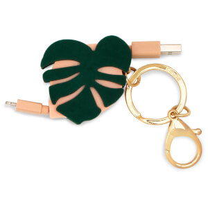 Ban.do Retractable Charging Cord With Keychain - Monstera
