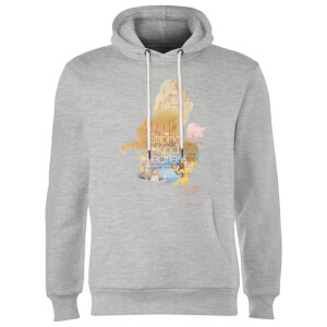 Disney Princess Filled Silhouette Belle Hoodie - Grey