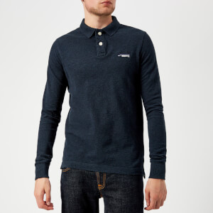 Superdry Men's Classic Long Sleeve Pique Polo Shirt - Black Blue Grindle