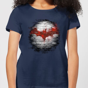 Batman Logo Wall Damen T-Shirt - Navy Blau Blau
