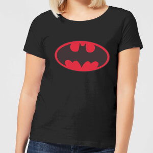 DC Comics Batman Red Logo Women's T-Shirt - Black
