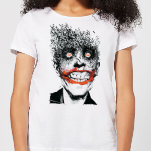 T-Shirt DC Comics Batman Joker Face Of Bats - Bianco - Donna