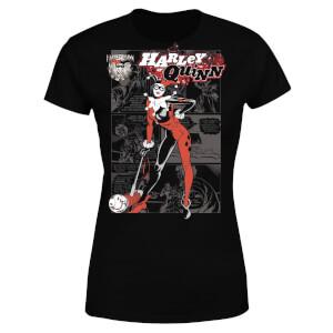 DC Comics Batman Harley Quinn Comic Page Women's T-Shirt - Black