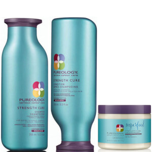 Produkttrio med Pureology Strength Cure Colour Care sjampo, balsam og Superfood Treatment