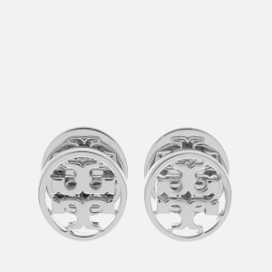 Tory Burch Women's Logo Circle-Stud Earrings - Tory Silver
