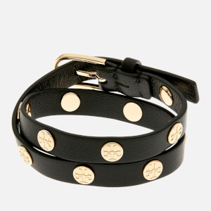 Tory Burch Women's Double Wrap Logo Stud Bracelet - Black/Gold