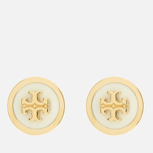 Tory Burch Women's Lacquered Raised Logo Stud Earrings - New Ivory/Gold: Image 1