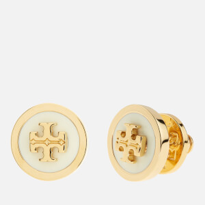 Tory Burch Women's Lacquered Raised Logo Stud Earrings - New Ivory/Gold: Image 2