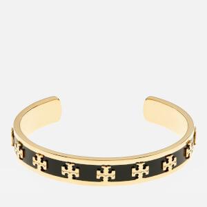 Tory Burch Women's Enamel Raised Logo Cuff Bracelet - Black/Gold