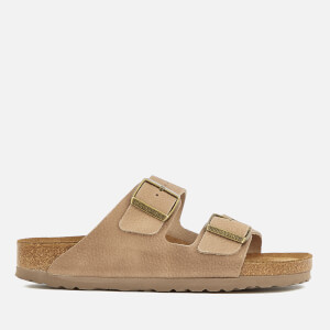 Birkenstock Women's Arizona Slim Fit Nubuck Double Strap Sandals - Steer Taupe
