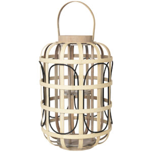 Broste Copenhagen Contrast Bamboo Lantern - Glass Natural