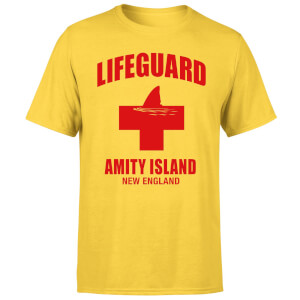 Camiseta Tiburón Lifeguard Amity Island - Hombre - Amarillo