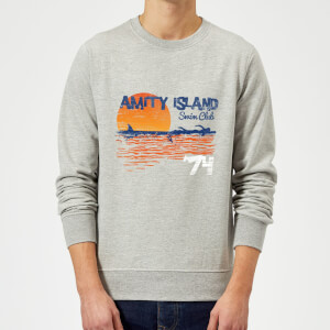 Sweat Homme Les Dents de la mer - Club de Natation Amity - Gris