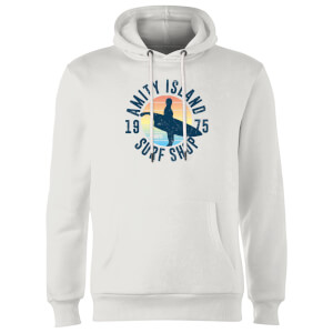 Sweat à Capuche Homme Les Dents de la mer - Amity Surf Shop - Blanc
